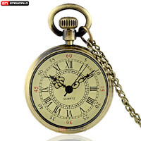 Retro Bronze Pocket Watch Quartz Open Face Antique Necklace Chain Pendant Gift