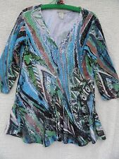 Alberto Makali Cardigan Sweater Misses L Blue Green Brown Viscose Nylon Flare