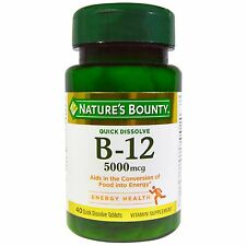 Nature's Bounty, B-12, 5000 mcg, 40 Quick Dissolve Tablets