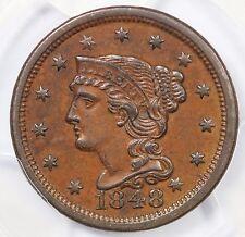 1848 N-20 PCGS AU 58 Braided Hair Large Cent Coin 1c