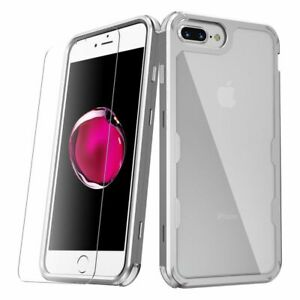 For iPhone 6 Plus/6s Plus/7 Plus/8 Plus Clear Silver Hard Hybrid Case Cover
