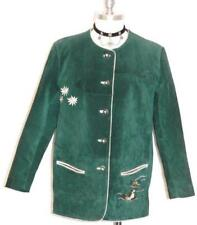 LEATHER Jacket Over COAT German Women EMBROIDERED FLOWERS Winter GREEN 12 M