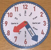 Learn To Tell the Time TEACHING CLOCK  - (Blue & Red)
