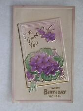 A660 Postcard embossed Happy Birthday Violet flowers