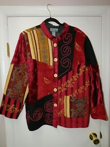 NWT Women's Indigo Moon Embroidered Multi-Textured Burgundy Jacket QVC Style 1X