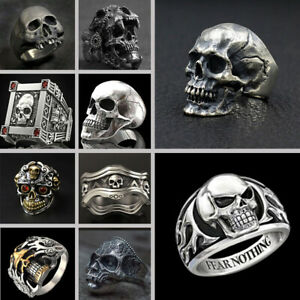 Cool Mens Gold Silver Skull Ring Hip Hop Ring Punk Biker Jewelry Gothic Size7-13