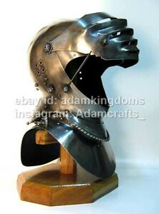 Medieval 16 Gauge Steel Maximilian Style Helmet