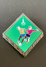 Very Rare Moscow 1980 Olympic Pin Button Badge Football Soccer Beautiful Logo