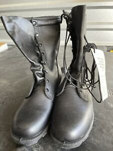 GENUINE US MILITARY ALL LEATHER BLACK SPEEDLACE  COMBAT BOOTS NEW 81/2WIDE