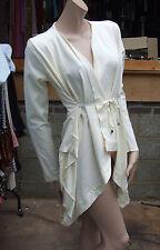 Zara M Exquisite Waterfall Effect Cream Jacket Wrap Top Unusual & Super Stylish