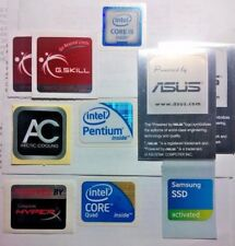 Lot of 10 Computer Case Stickers Badges Labels Intel Core i5 Pentium Samsung SSD