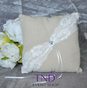 BURLAP RUSTIC FLOWER GIRL BASKET/RING PILLOW WITH LACE & CRYSTAL RHINESTONES