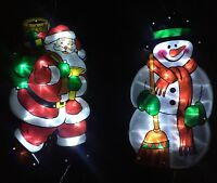 Christmas Snowman & Santa LED Lights Silhouette Xmas Window Hanger Light 1 Pair