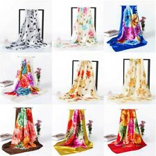 Women Print Satin Silk Square Scarf Head Wrap  Scarves Stole Casual 90x90cm