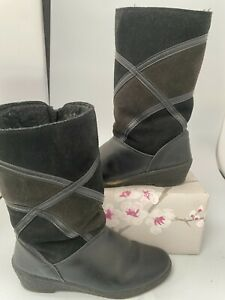 Unbranded, Black, Leather Mix, Mid Calf, Zip Up Boots, Size UK-3 #KW