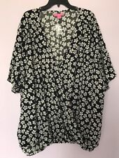 WOMAN WITHIN Women's Plus Size 1X Rayon Wrap Short Sleeve Shirt Top Blouse NEW