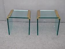 PAIR Vintage Leon Rosen PACE Collection END TABLES Glass & Brass Mid Century