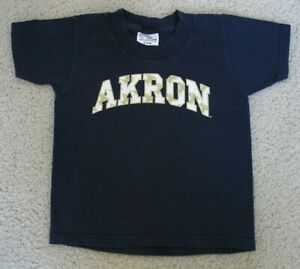 UNIVERSITY OF AKRON ZIPS T-SHIRT YOUTH BOYS SIZE SMALL (5/6) NAVY BLUE