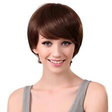 Brown Womens Short Natural 100% Real Human Hair Wigs with Cap HEAT RESISTANT