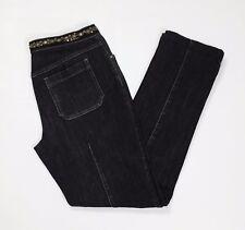 Marella sport jeans stretch donna W30 tg 44 slim nero strass skinny usato T2813