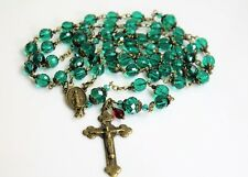 MARY MALACHITE EMERALD  GREEN AB CZECH GLASS CRYSTAL ANTIQUE BRONZE ROSARY