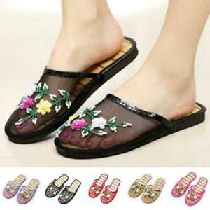 New Women Mesh Floral Slippers Slides Slip On Flats Flip Flop Loafers Mules day8
