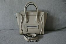 Sale! Mint Authentic Celine Nano Luggage Bag Pebbled Leather Sand Beige Dune