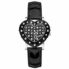 NEW GUESS BLACK TONE,HEART SHAPE,BLACK LEATHER BAND,CRYSTAL GLITZ, WATCH-W0115L1