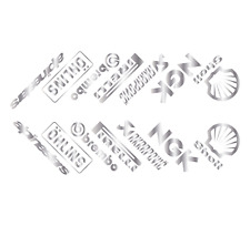 SILVER Angled Motorbike Belly Pan Sponsor Decals Motorcycle Fairing Stickers