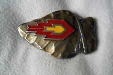 ROCKY MOUNTAINS? MILITARY? USA  PEWTER BELT BUCKLE RED,SILVER,YELLOW ARR 5.5 cm