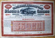 Cincinnati, Indianapolis St. Louis & Chicago Railway $5,000 Bond