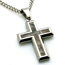 Stainless Steel Soldier Forest Woods Camo Camouflage Cross Pendant