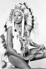 Pam Grier wearing Indian headdress posing 11x17 Mini Poster