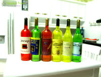6 Wine Juice Beer Bottles Doll House Miniature Kitchen Drink Accessory 1/6 Bjd