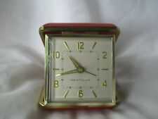 Westclox Red & Gold Toned Vintage Travel Alarm Clock