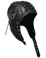 Punk Rave Steampunk Aviator Hat Cap Black Trapper VTG Military LARP Cosplay