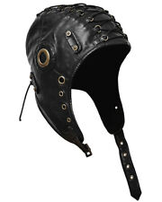 Punk Rave Steampunk Aviator Hat Cap Black Trapper VTG Military LARP Cosplay