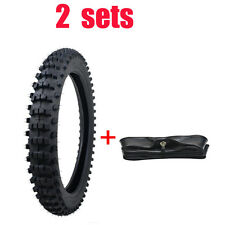 """2 Sets 70/100 - 17"""" Front Knobby Tyre Tire Tube PIT PRO BIGFOOT Trail Dirt Bike"""
