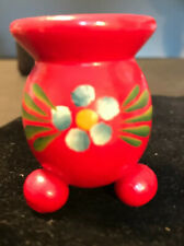 Red Swedish Candle Holder Wood Good Condition Blue Flower