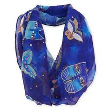"Laurel Burch-Blue Butterfly Collage Indigo Cat Artistic Infinity Scarf 19.5""x35"""