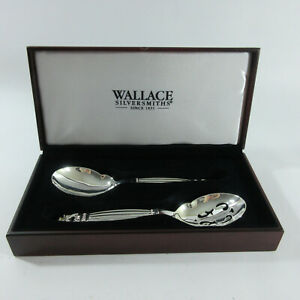 Wallace Silversmiths Silverplated Danish 2 Piece Salad Set Serving Spoons