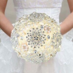 Handmade Brooch Rhinestone Bouquet Satin Rose Flower For Bride Wedding Supplies