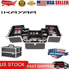 iKayaa Makeup Case Organizer Locking Box Storage Bag With Strap & 4 Trays U7T8