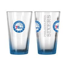 More details for philadelphia 76ers glass adult's 16oz logo drinks glass - blue - new