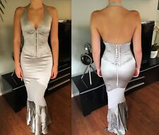 Roberto Cavalli Sexy Corset Plunged Decollete Open Back Dress Gown Size S