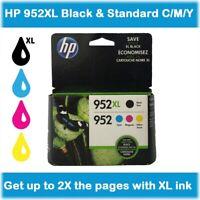 HP 952XL Black & Standard Cyan, Magenta, Yellow, 4-Pack Ink Cartridges, EXP 2020