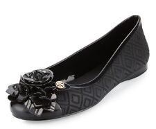 NIB Authentic TORY BURCH Blossom Jelly Ballet Flats in Black Sz 9 $175