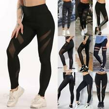 Damen Jogginghose Schwarz Mesh Gym Leggings Yoga Hose Push Up Leggins Sport Neu