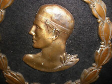 Antique  early 1900`s  Sports man athlete bust Olympic Wheat Logo bronze plaque