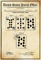 . US Patent Cartas Juego Tarjetas Playing Cards 1909 Letrero de Metal Cartel